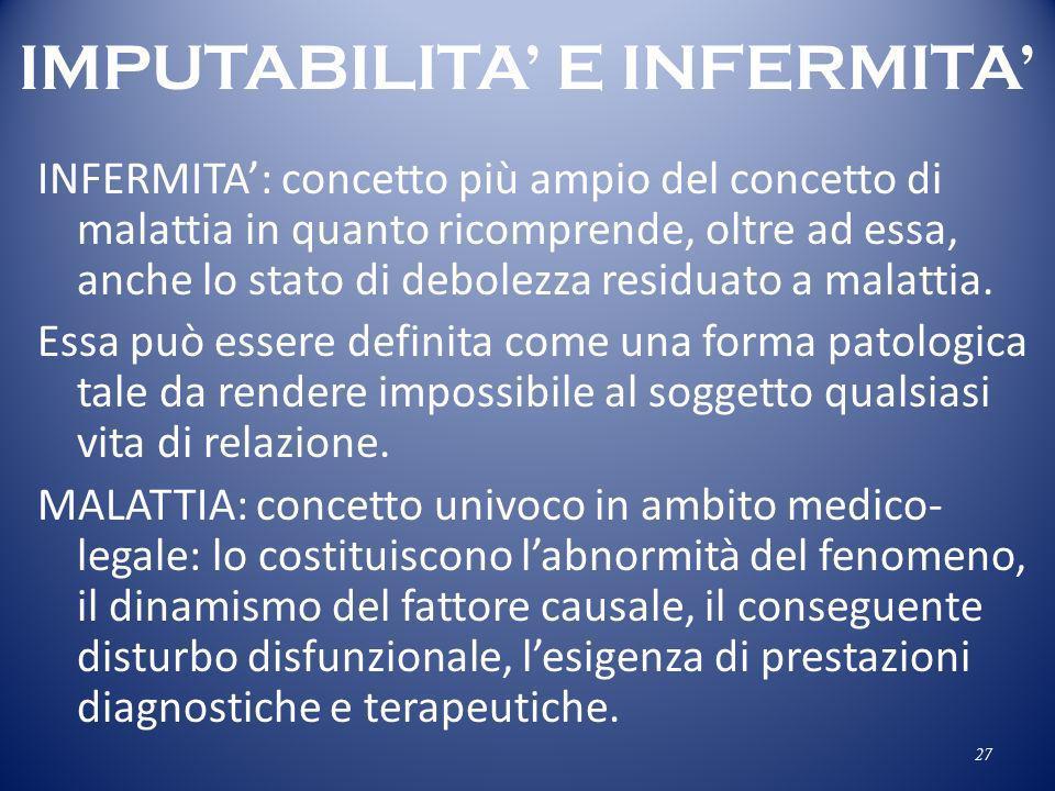 IMPUTABILITA' E INFERMITA'