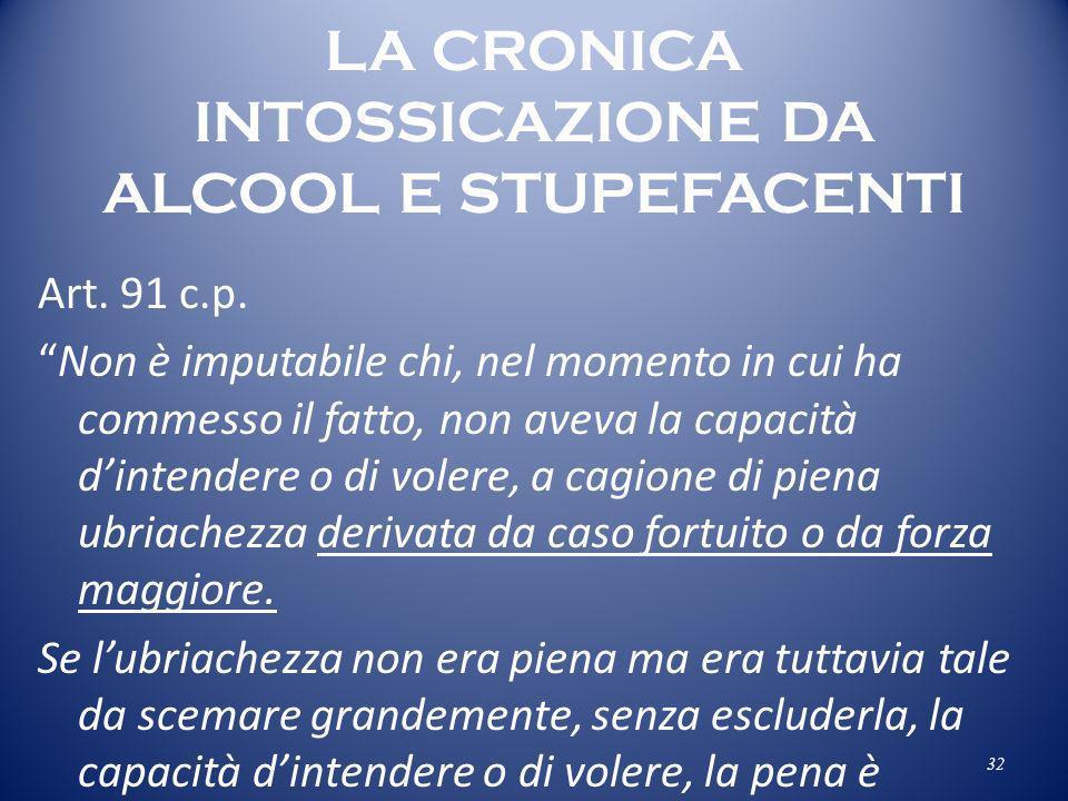 LA CRONICA INTOSSICAZIONE DA ALCOOL E STUPEFACENTI
