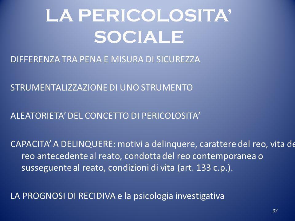 LA PERICOLOSITA' SOCIALE