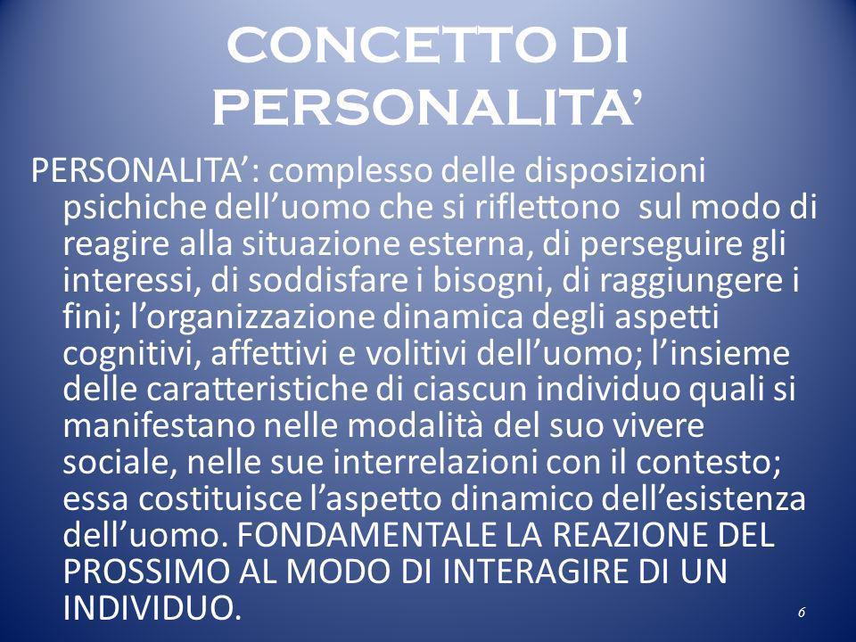 CONCETTO DI PERSONALITA'
