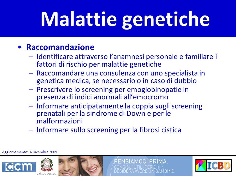 Malattie genetiche Raccomandazione