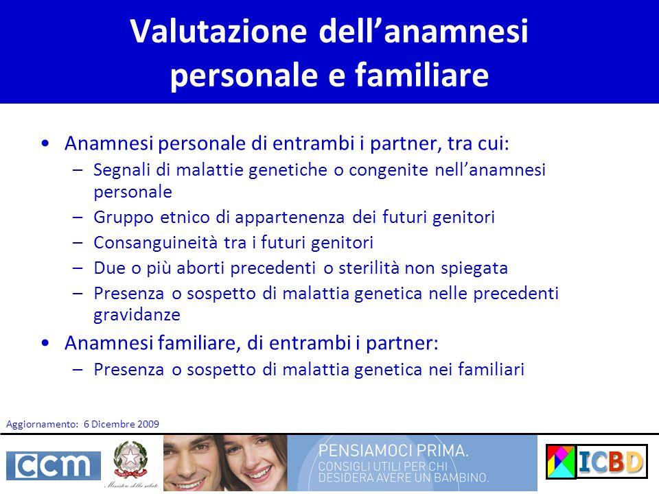 Valutazione dell'anamnesi personale e familiare