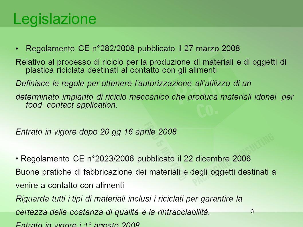 Legislazione Regolamento CE n°282/2008 pubblicato il 27 marzo 2008