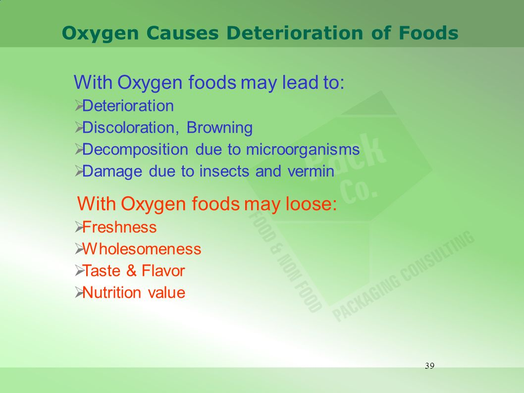 Oxygen Causes Deterioration of Foods