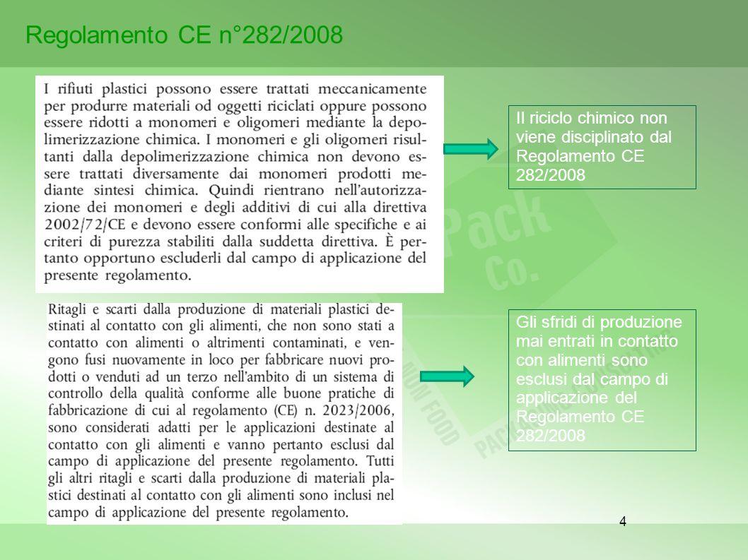 Regolamento CE n°282/2008 Il riciclo chimico non viene disciplinato dal Regolamento CE 282/2008.
