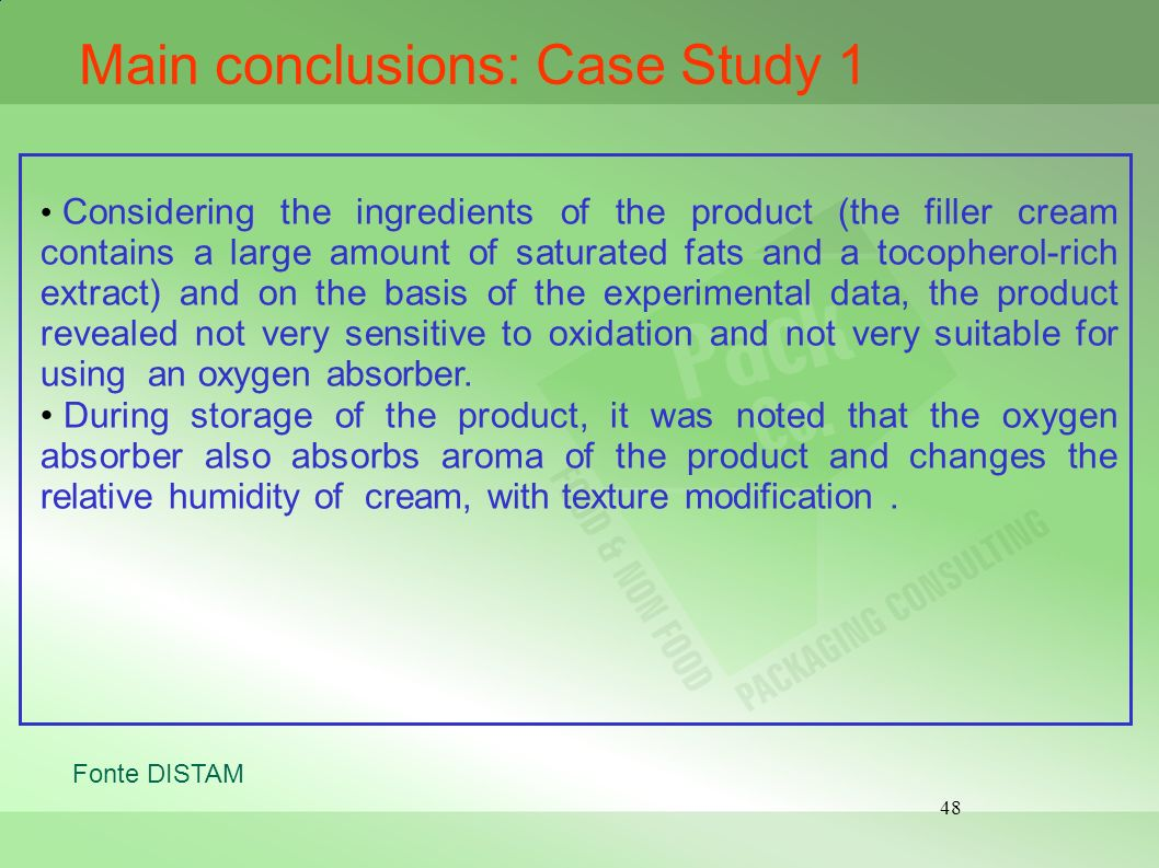 Main conclusions: Case Study 1