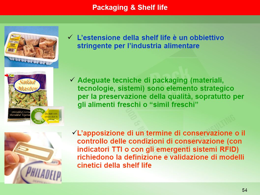 Packaging & Shelf life L'estensione della shelf life è un obbiettivo stringente per l'industria alimentare.