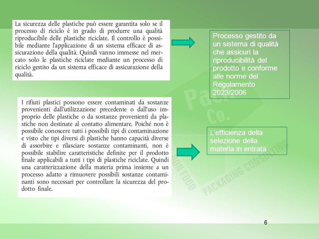 Processo gestito da un sistema di qualità che assicuri la riproducibilità del prodotto e conforme alle norme del Regolamento 2023/2006
