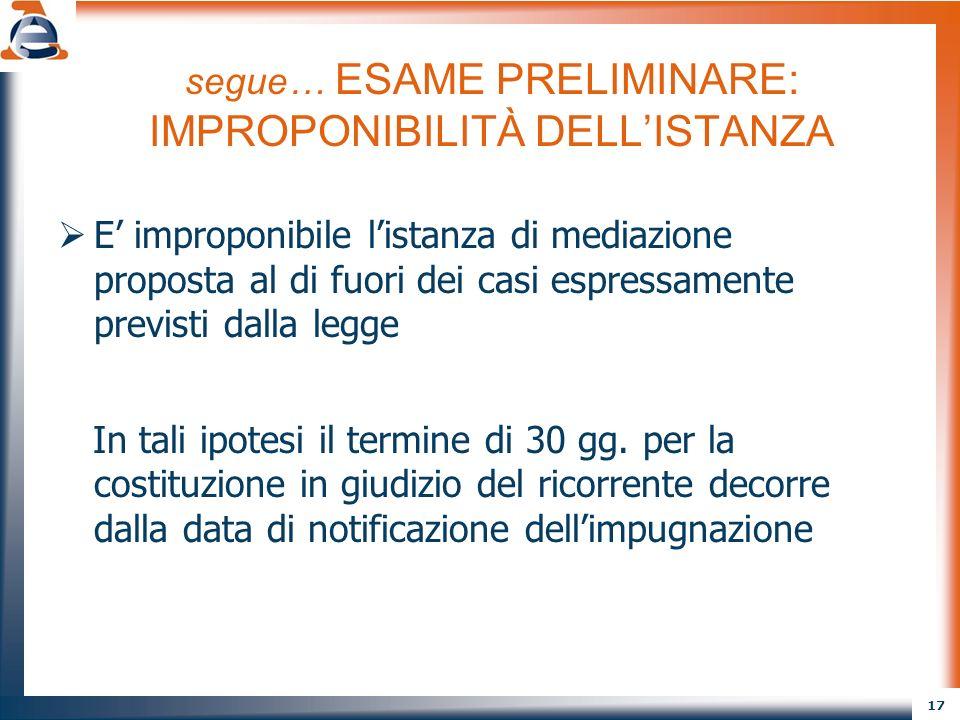 segue… ESAME PRELIMINARE: IMPROPONIBILITÀ DELL'ISTANZA