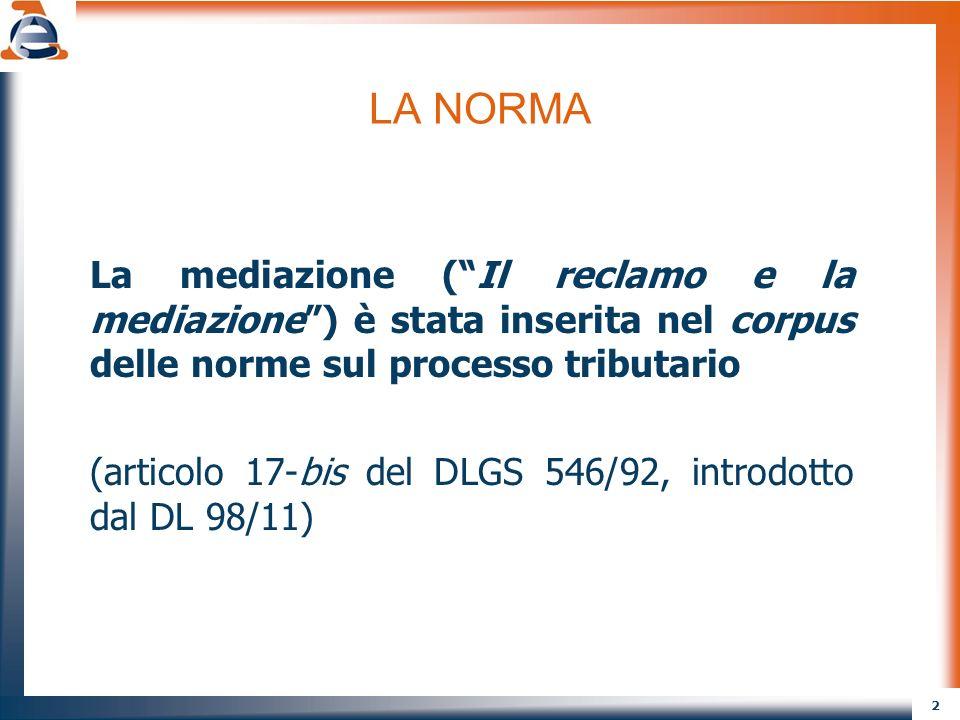 LA NORMA La mediazione ( Il reclamo e la mediazione ) è stata inserita nel corpus delle norme sul processo tributario.