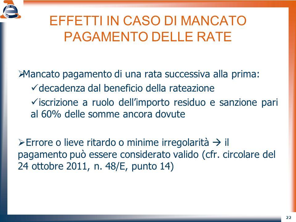 EFFETTI IN CASO DI MANCATO PAGAMENTO DELLE RATE