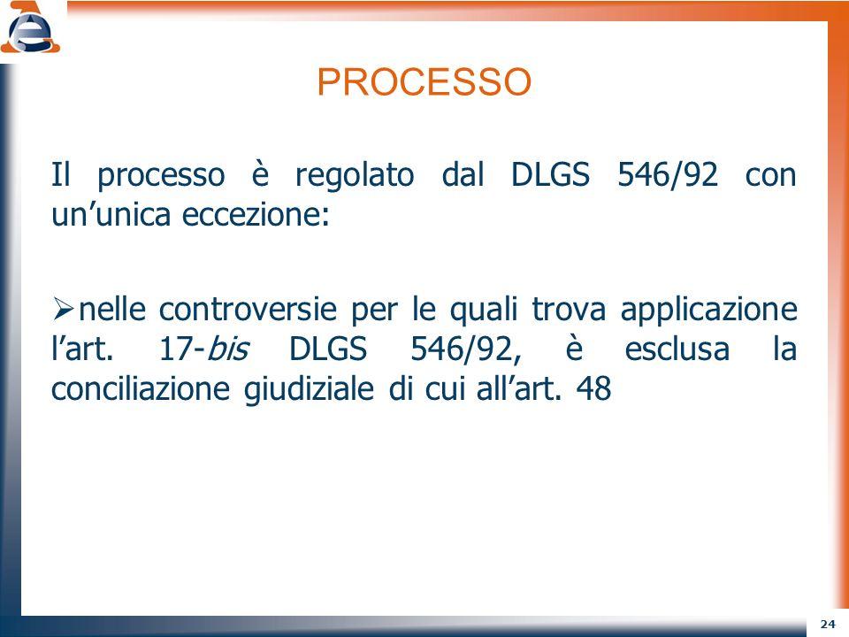 PROCESSO Il processo è regolato dal DLGS 546/92 con un'unica eccezione: