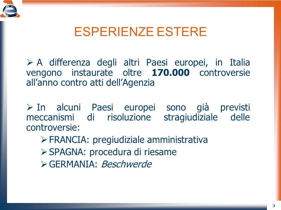ESPERIENZE ESTERE A differenza degli altri Paesi europei, in Italia vengono instaurate oltre 170.000 controversie all'anno contro atti dell'Agenzia.