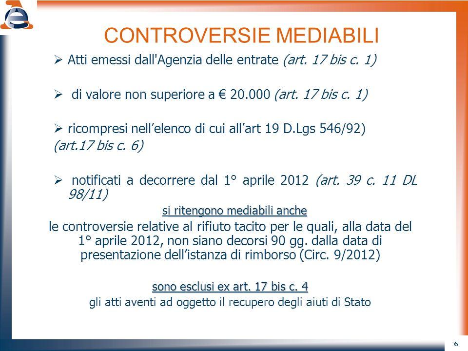 CONTROVERSIE MEDIABILI
