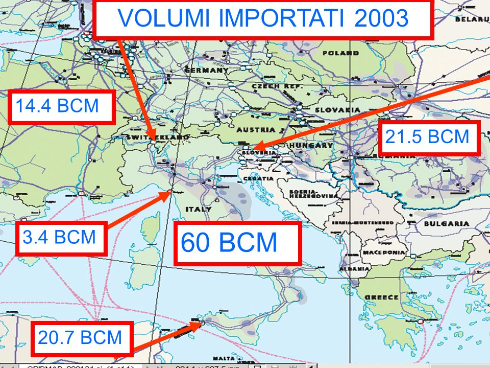 VOLUMI IMPORTATI 2003 14.4 BCM 21.5 BCM 3.4 BCM 60 BCM 20.7 BCM