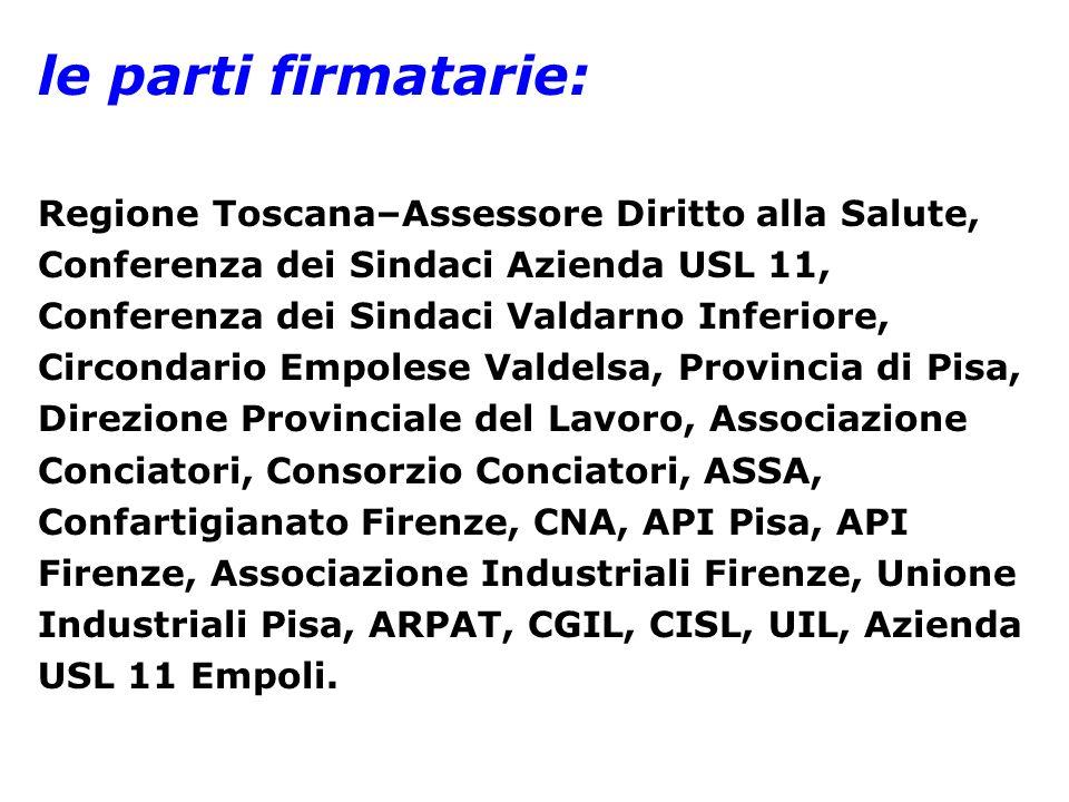 le parti firmatarie: Regione Toscana–Assessore Diritto alla Salute,