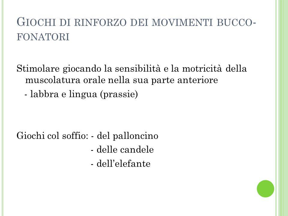 Giochi di rinforzo dei movimenti bucco-fonatori