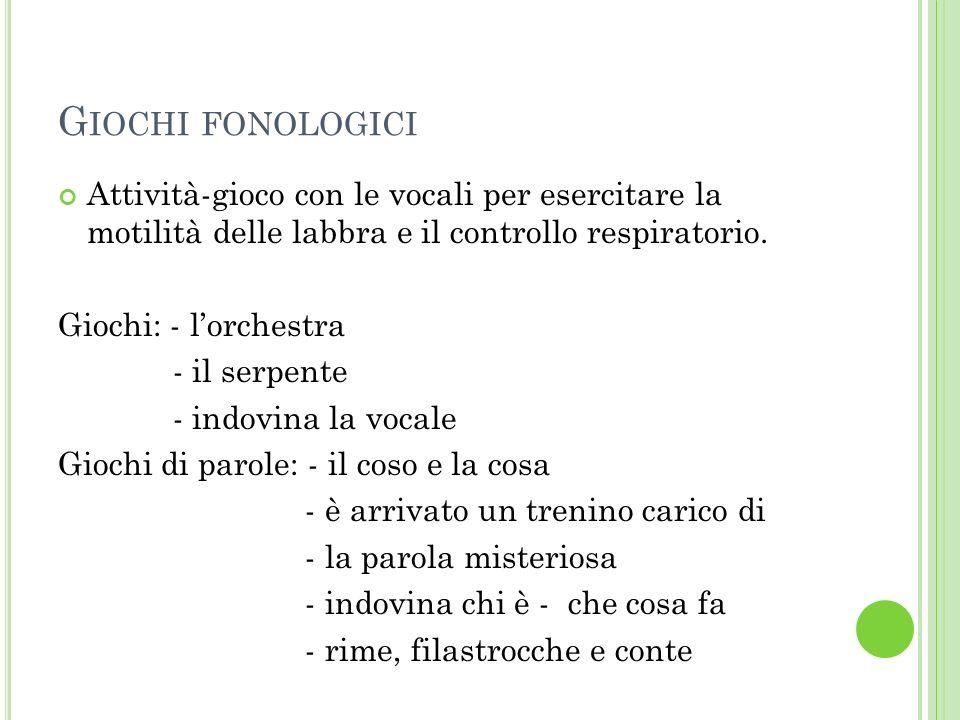 Giochi fonologiciAttività-gioco con le vocali per esercitare la motilità delle labbra e il controllo respiratorio.