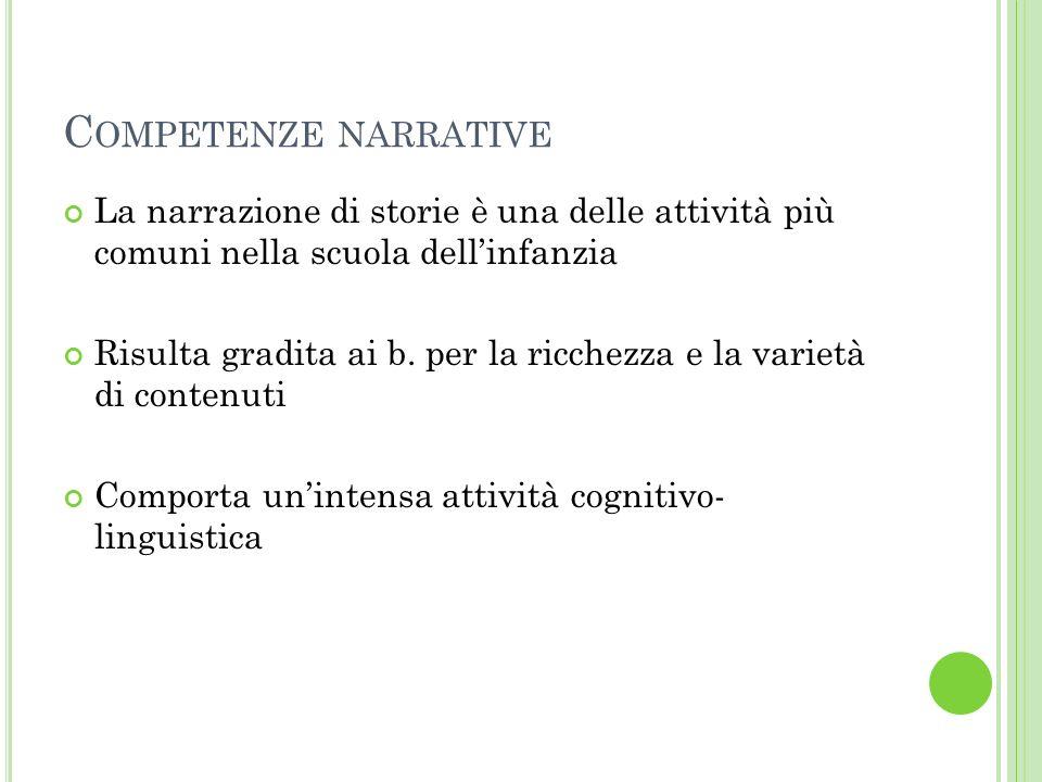 Competenze narrative La narrazione di storie è una delle attività più comuni nella scuola dell'infanzia.