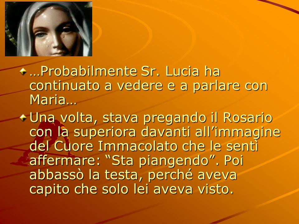 …Probabilmente Sr. Lucia ha continuato a vedere e a parlare con Maria…