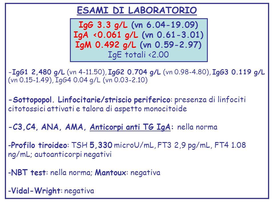ESAMI DI LABORATORIO IgG 3.3 g/L (vn 6.04-19.09)