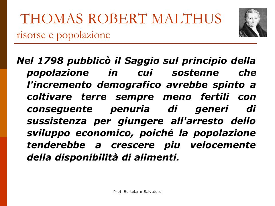 THOMAS ROBERT MALTHUS risorse e popolazione