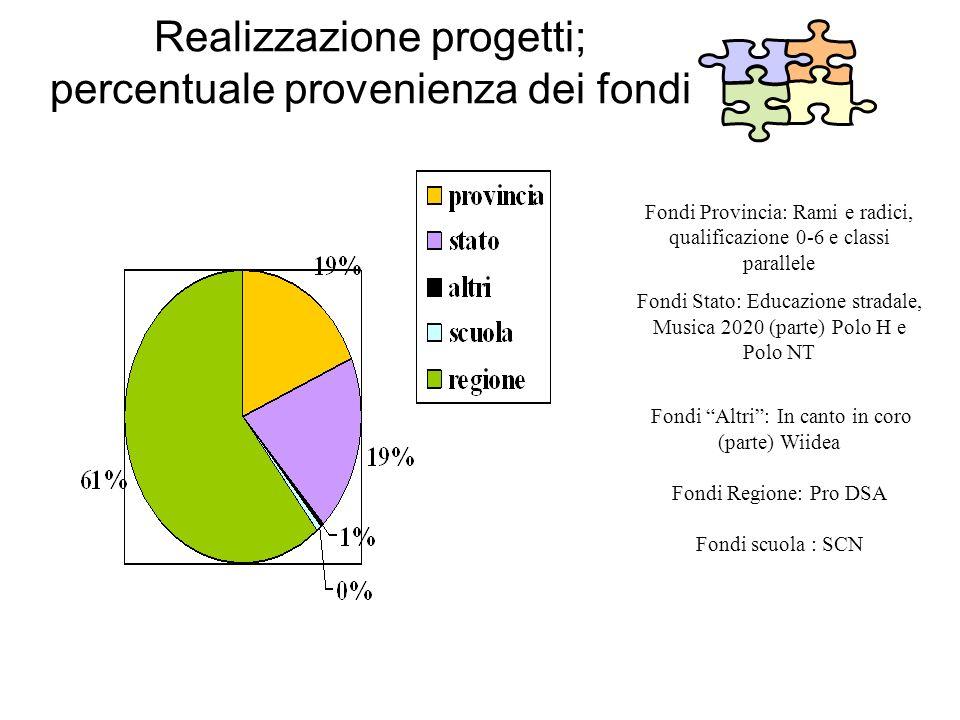 Realizzazione progetti; percentuale provenienza dei fondi