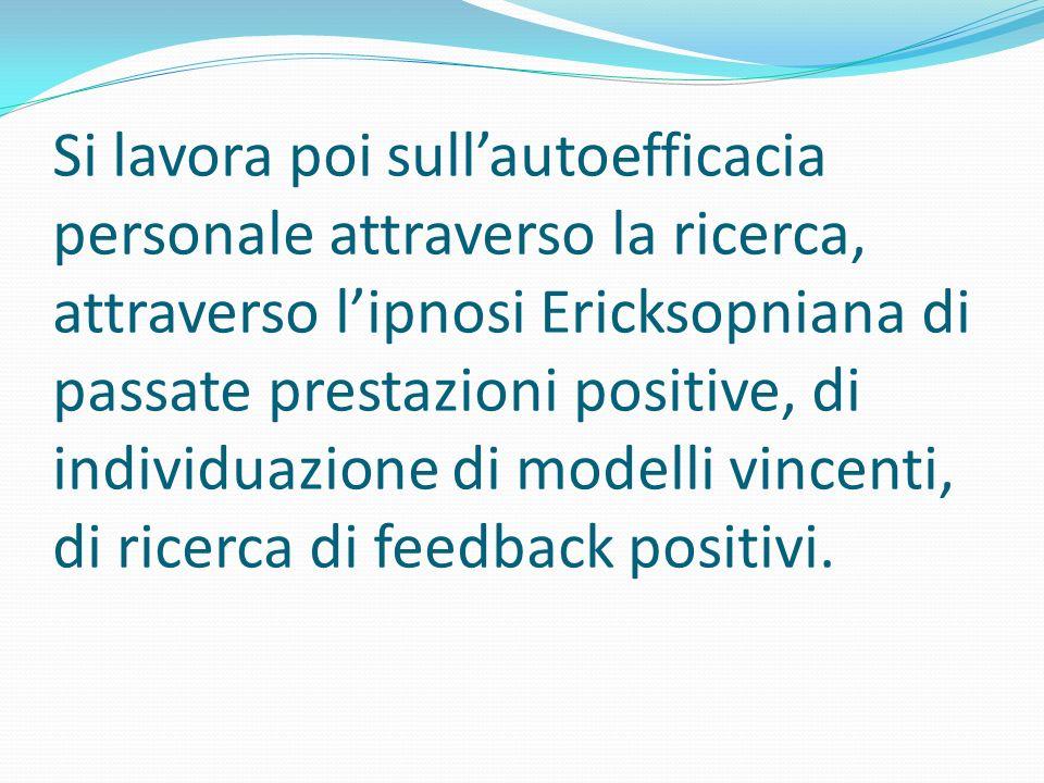 Si lavora poi sull'autoefficacia personale attraverso la ricerca, attraverso l'ipnosi Ericksopniana di passate prestazioni positive, di individuazione di modelli vincenti, di ricerca di feedback positivi.