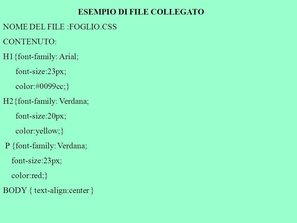 ESEMPIO DI FILE COLLEGATO