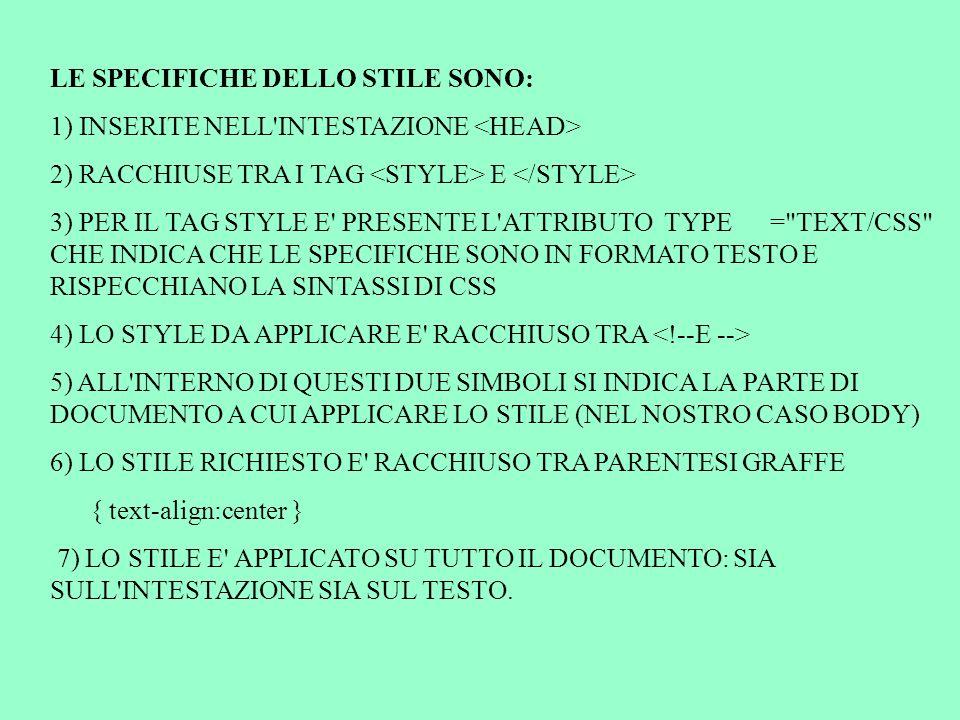 LE SPECIFICHE DELLO STILE SONO: