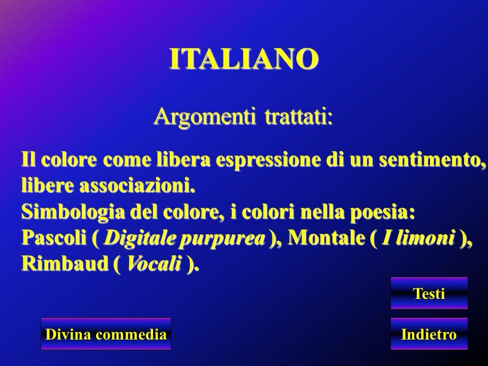 ITALIANO Argomenti trattati:
