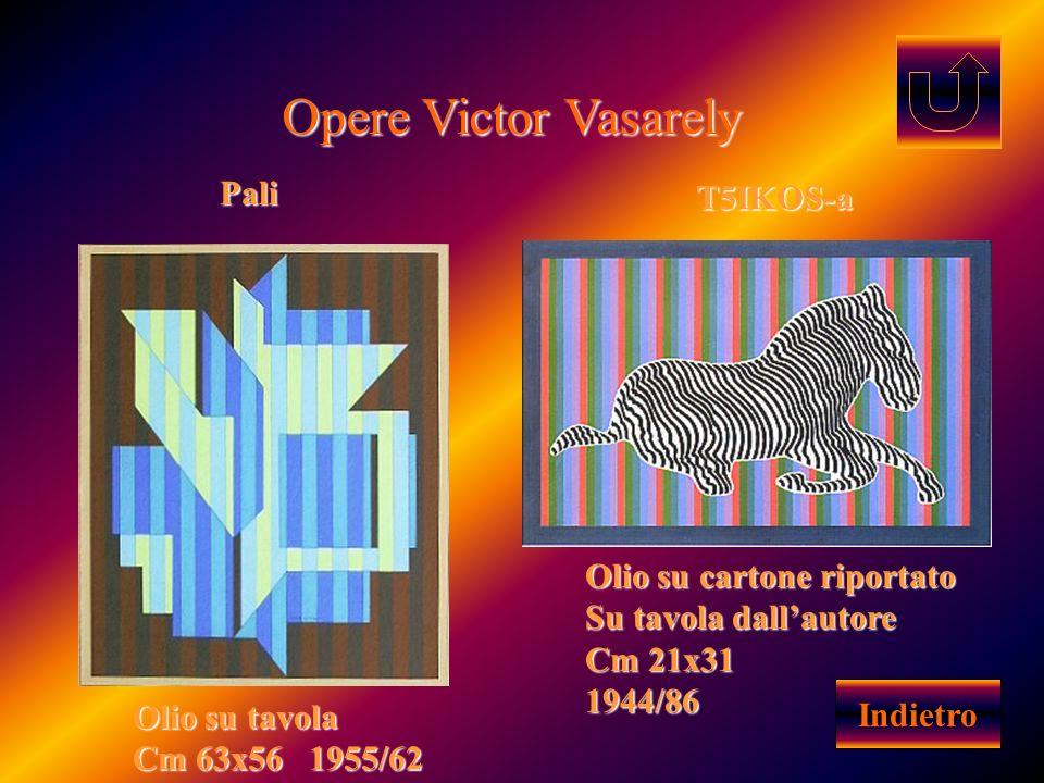 Opere Victor Vasarely Pali T5IKOS-a Olio su cartone riportato