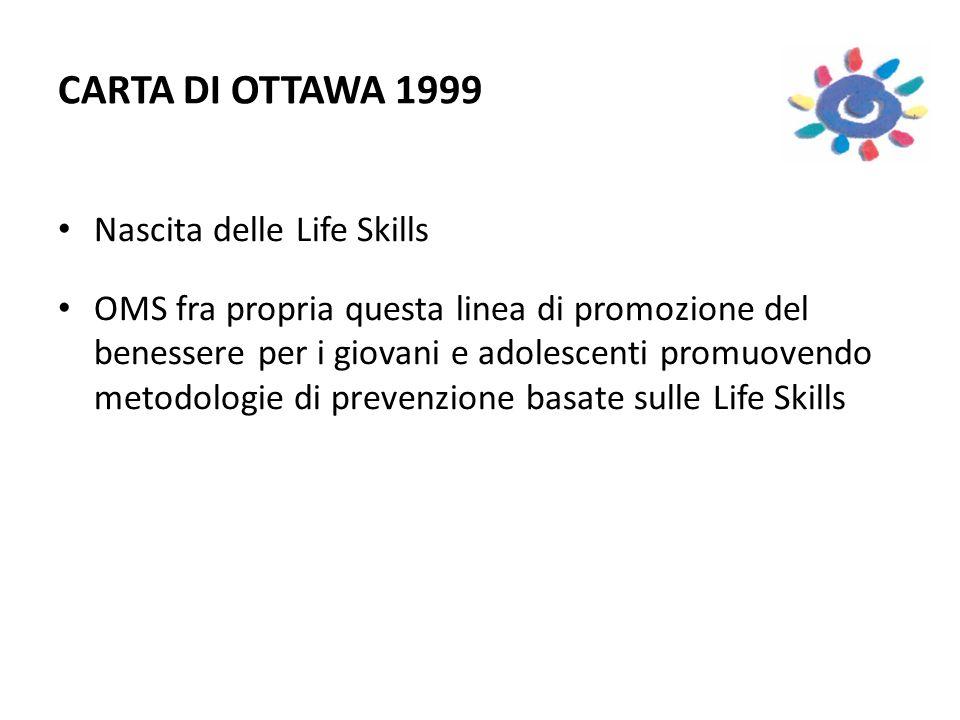 CARTA DI OTTAWA 1999 Nascita delle Life Skills