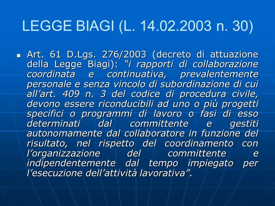 LEGGE BIAGI (L. 14.02.2003 n. 30)