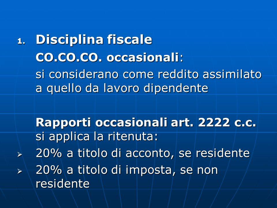 Disciplina fiscale CO.CO.CO. occasionali: