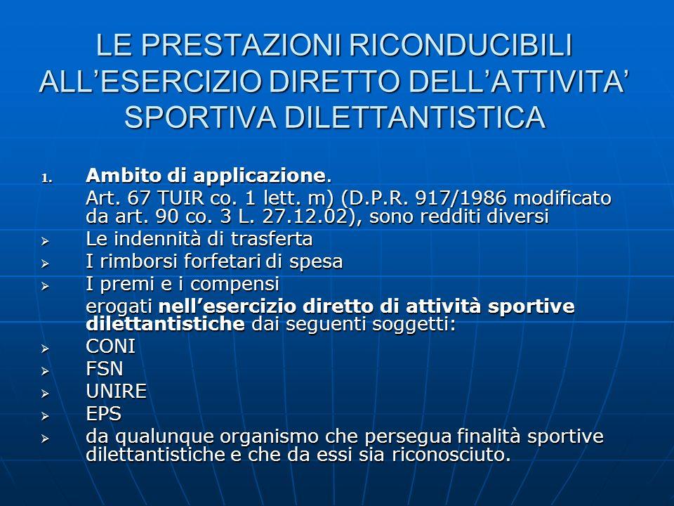 LE PRESTAZIONI RICONDUCIBILI ALL'ESERCIZIO DIRETTO DELL'ATTIVITA' SPORTIVA DILETTANTISTICA