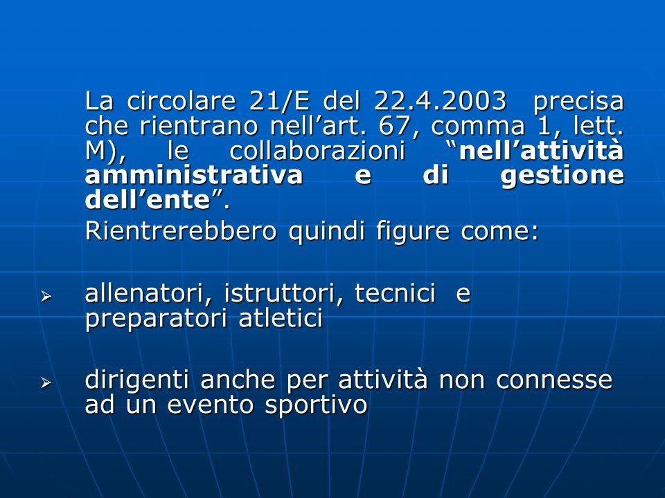 La circolare 21/E del 22. 4. 2003 precisa che rientrano nell'art