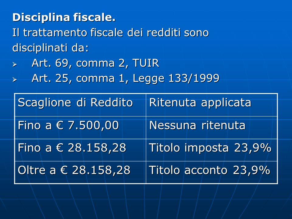 Scaglione di Reddito Ritenuta applicata Fino a € 7.500,00