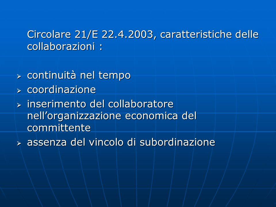 Circolare 21/E 22.4.2003, caratteristiche delle collaborazioni :