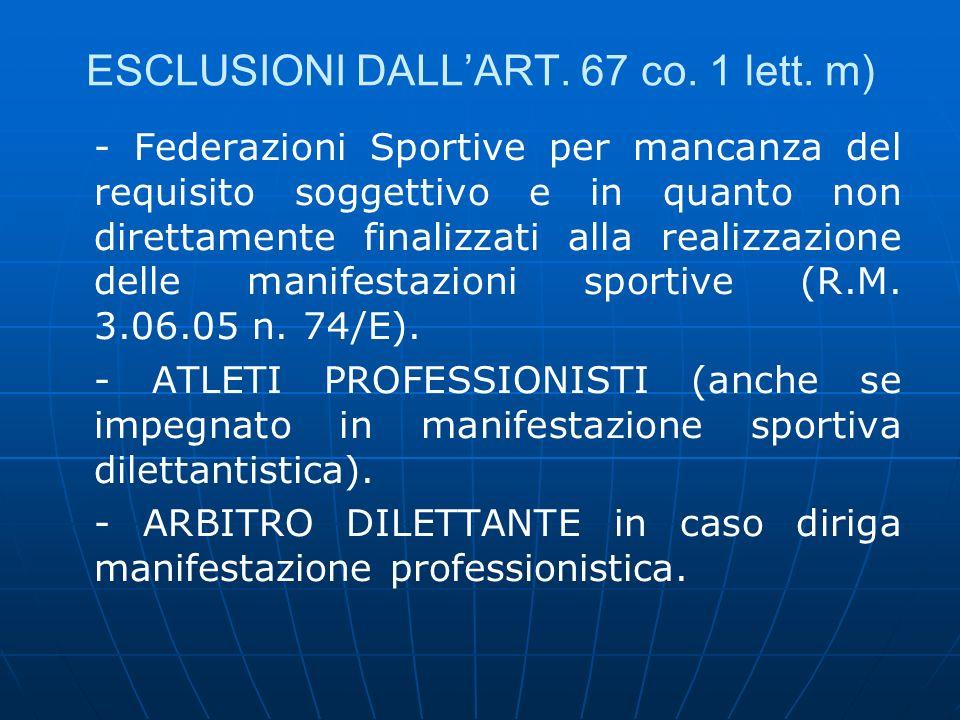 ESCLUSIONI DALL'ART. 67 co. 1 lett. m)