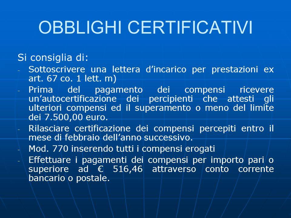 OBBLIGHI CERTIFICATIVI
