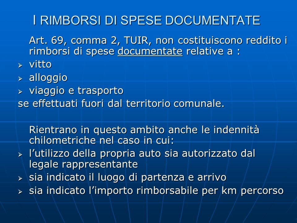 I RIMBORSI DI SPESE DOCUMENTATE