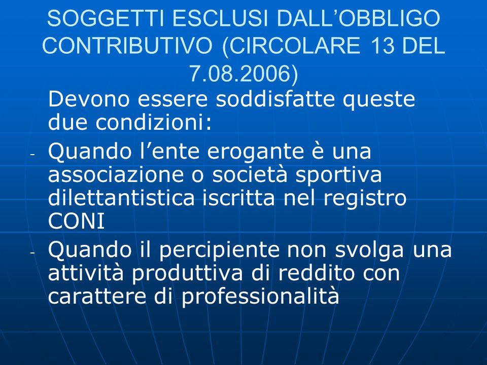 SOGGETTI ESCLUSI DALL'OBBLIGO CONTRIBUTIVO (CIRCOLARE 13 DEL 7. 08
