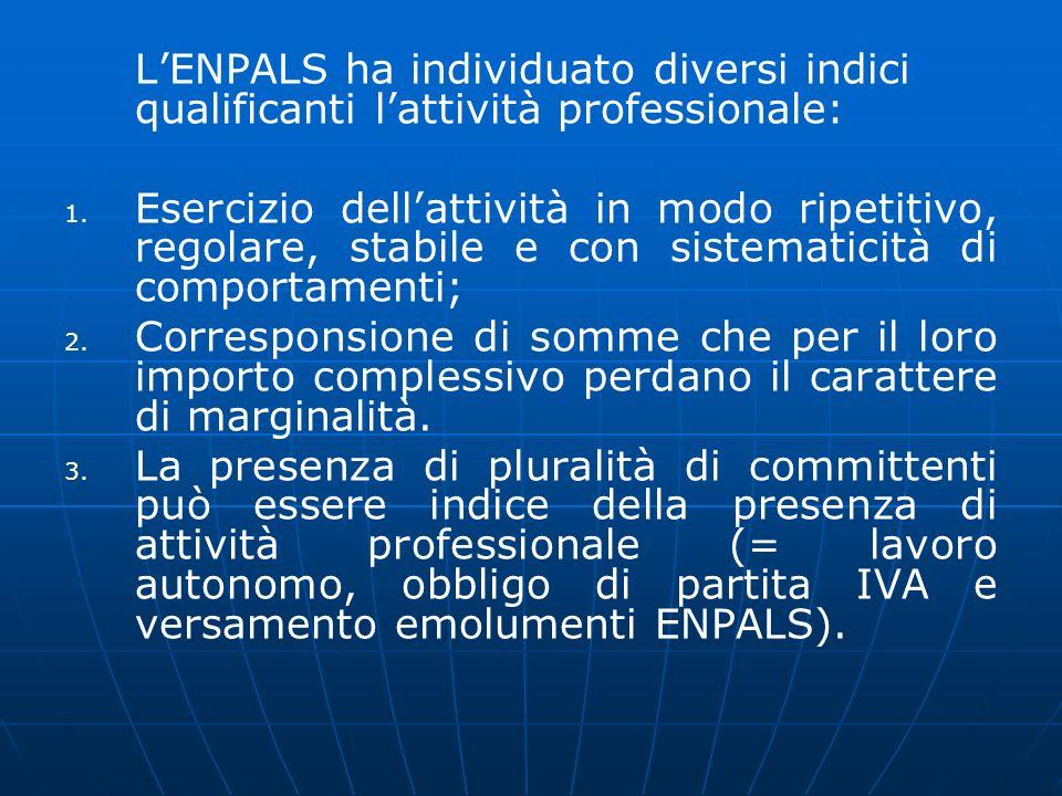 L'ENPALS ha individuato diversi indici qualificanti l'attività professionale: