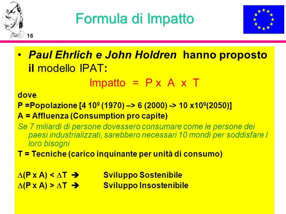 Formula di Impatto Paul Ehrlich e John Holdren hanno proposto il modello IPAT: Impatto = P x A x T.