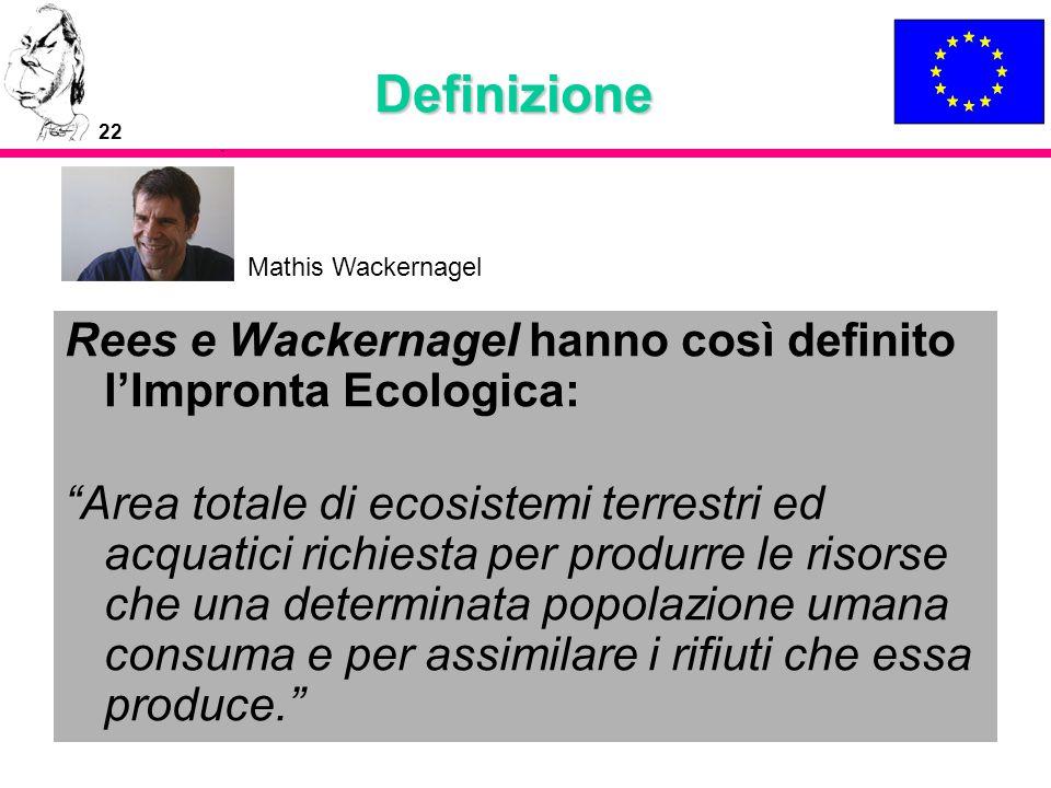 Definizione Mathis Wackernagel. Rees e Wackernagel hanno così definito l'Impronta Ecologica: