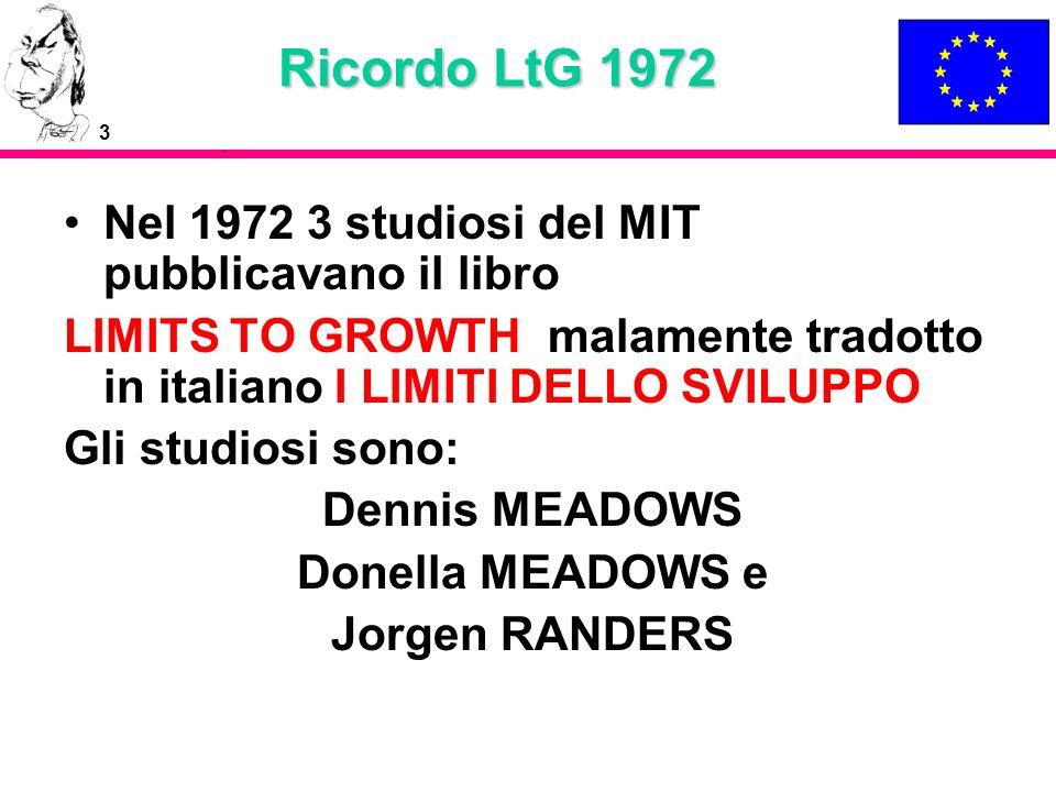 Ricordo LtG 1972 Nel 1972 3 studiosi del MIT pubblicavano il libro