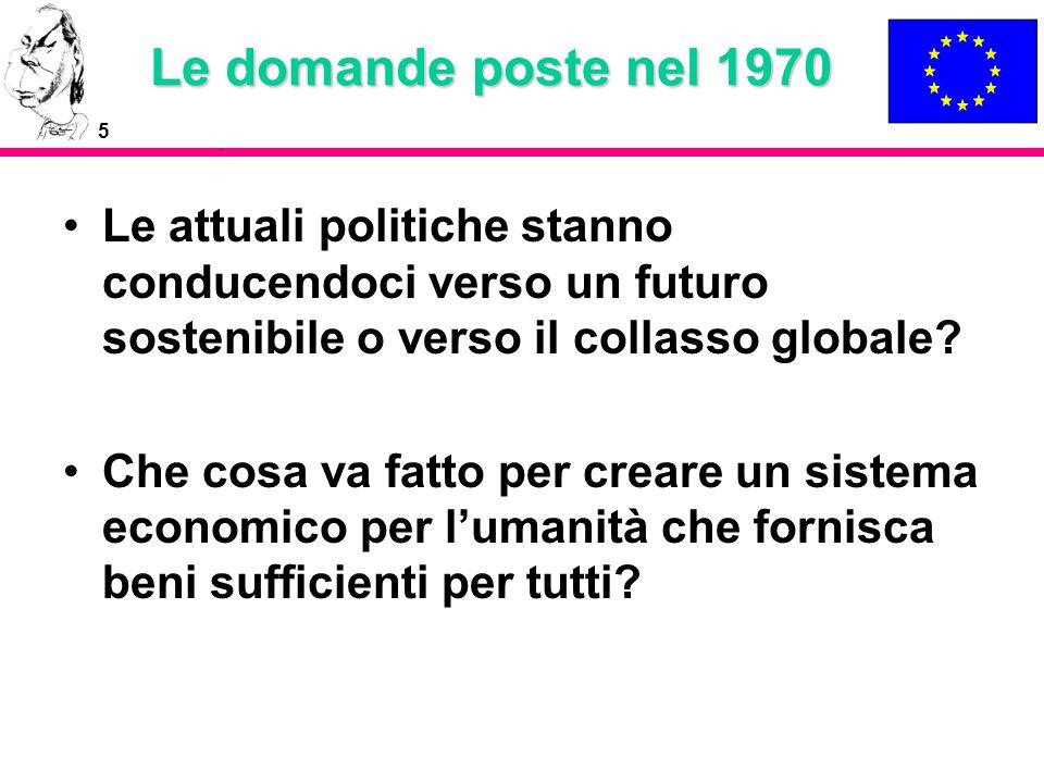 Le domande poste nel 1970 Le attuali politiche stanno conducendoci verso un futuro sostenibile o verso il collasso globale