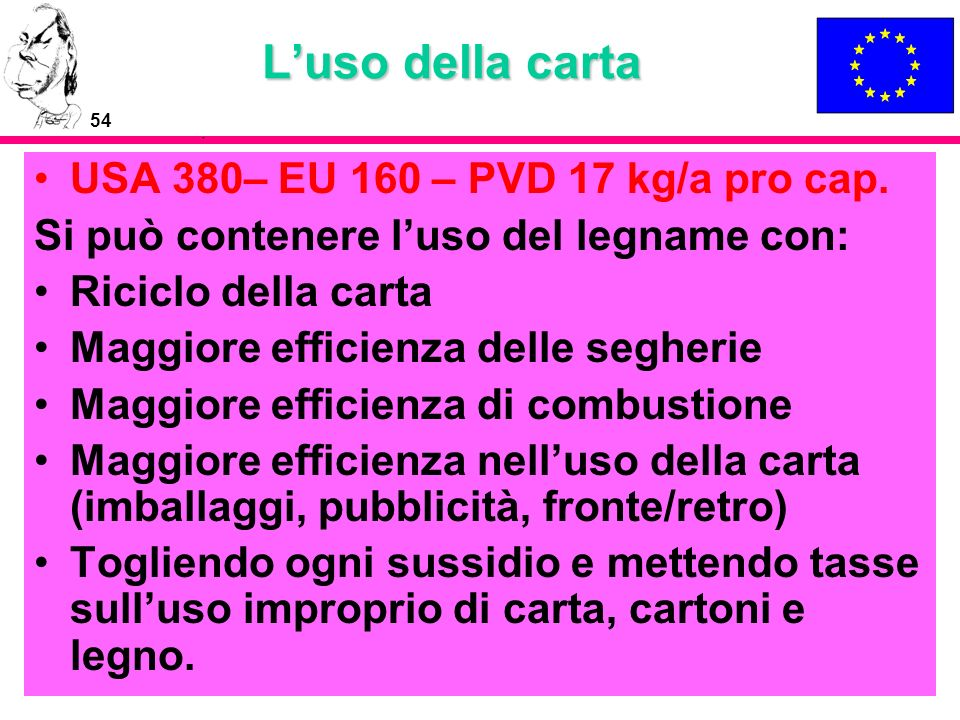 L'uso della carta USA 380– EU 160 – PVD 17 kg/a pro cap.