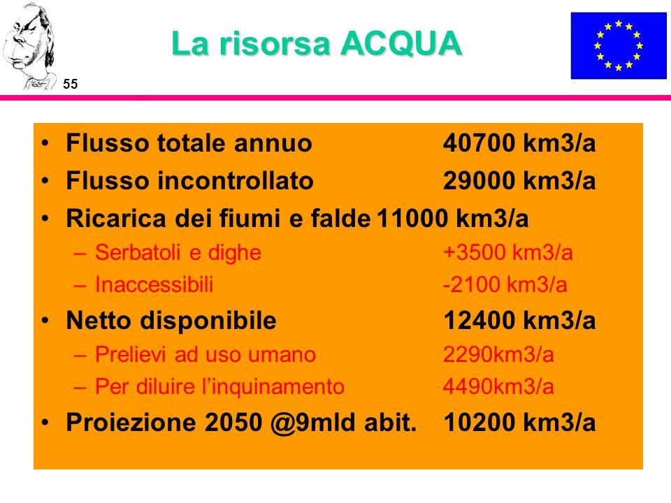 La risorsa ACQUA Flusso totale annuo 40700 km3/a